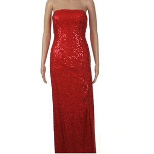Red Sequins Strapless Evening Gown  EUC